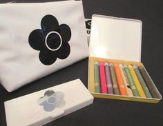"FAB  VINTAGE MARY QUANT CRAYONS, EYE SHADOW & DAISY MAKEUP BAG !   UNUSED IN ORIGINAL BOX!!    This fab lot of Vintage Mary Quant includes a set of 10 crayons, an eye shadow/mirror compact and a makeup kitbag! All are unused in their original boxes/cases!!  The kitbag has a groovy zippered top and iconic Mary Quant Daisy! It measures approx. 6"" long and 5"" high.  Please note the kitbag box has a slight bit of shelf wear as it has been stored away for 50+ years."