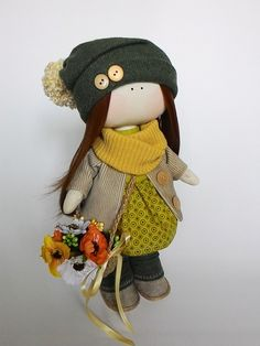 Fabric doll cloth doll textile doll autumn outfit cloth rag doll dress up doll fabric dolls fabric doll cloth dolls textile dolls textile doll collection doll rag doll dolls cloth art dolls autumn decor yellow green gift for girls 95.00 USD #goriani