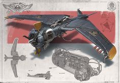 """Redesign: Crimson Skies (Big Bat heavy fighter) by martydesign --- These mention """"Crimson Skies"""" in the name but they don't quite fit my headcanon, so I've put them in this board instead!"""