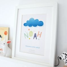 Personalised Birth Details Cloud Baby Print Unique Baby Gifts, New Baby Gifts, Christening Present