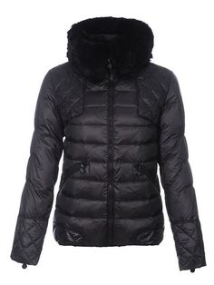 New Womens Moncler Down Jacket Fur Collar Black [2899875] - £150.06 : 5% off discount code: happywinter