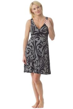 Nursing Nightgown - Grey Finial by Majamas   Maternity Clothes  available at Due Maternity www.duematernity.com