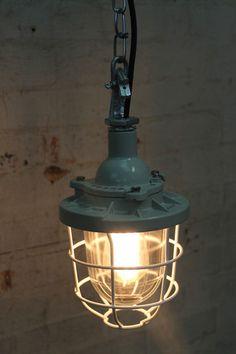 Fat Shack Vintage - Cage Light Industrial Pendant on Chain - 160mm d housing x 248 high (plus 70 for hook) - $190