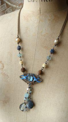 Antique Assemblage Charm Necklace Enamel Bluebirds by CobwebPalace