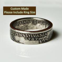 Pennsylvania Quarter Ring by TheRingTree on Etsy https://www.etsy.com/listing/116294532/pennsylvania-quarter-ring