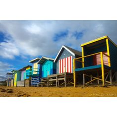 Vintage Beach Huts ❤ liked on Polyvore