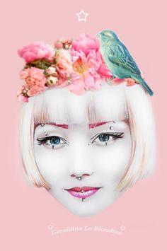 illustration of Harajuku street snap model Marina/Kyuri by artist Geraldine La Blondine!