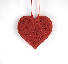 Ornament Handmade Heart Red UNIQUE SUGAR CRAFT by TheHappyPiper, $8.88
