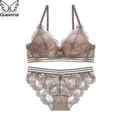 7f36c0b01a1 Queenral Sexy Lace Bra Set Push Up Underwear Set Lingerie Women Wire Free  Bra Brief Bets