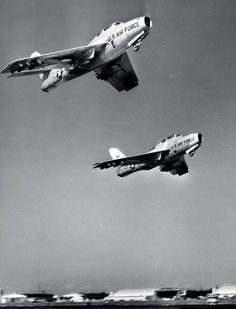 Republic F-84F Thunderchief fighters in formation