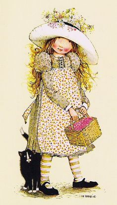 Soloillustratori: Holly Hobbie- Sarah Kay e Sambonnet Holly Hobbie, Crazy Cat Lady, Sara Kay, Cat Fabric, Dibujos Cute, Vintage Cards, Vintage Children, Vintage Prints, Childhood Memories