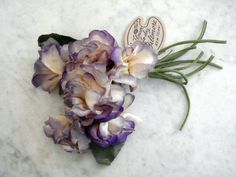 Vintage 1950's millinery flower bunch purple off white posies Biltmore New York
