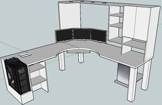 Ikea L-shaped Desk Layout Room Design Ideas Space Design Ideas Tips - Computer Desk Design, Computer Setup, Gaming Desk Diy, Computer Desks, Custom Computer Desk, L Shaped Desk Gaming Setup, Corner Gaming Desk, Computer Tips, Bureau Design