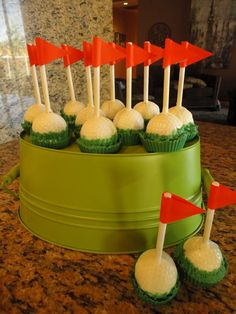 Golf Cake Pops - will make these for my dad's birthday! :)