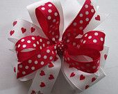 Valentine Hair Bow - Hearts and Polka Dot - Red and White Grosgrain Ribbon