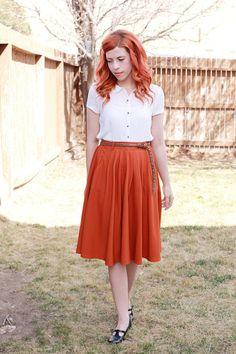 Breathtaking Tiger Lilies Skirt in Orange | Mod Retro Vintage Skirts | ModCloth.com