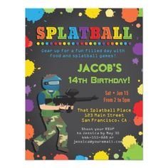 Paintball Party Invitation Cards for Teens 14th Birthday, Boy Birthday Parties, Birthday Boys, Birthday Ideas, Backyard Birthday, Happy Birthday, Paintball Birthday Party, Boy Birthday Invitations, Birthday Cards