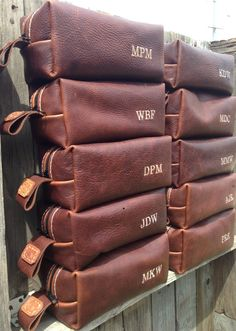 groomsmen's gifts of a handmade leather toiletry bag