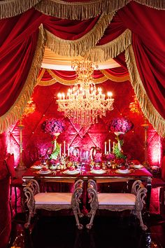 We pulled together all the best decor from the Beast's castle to create this elaborate and grand Beauty and the Beast inspired reception