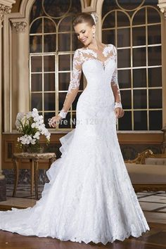 Vestido De Noiva Cheap Elegant Wedding Gowns Bridal Dress Romantic White Lace Vintage Mermaid Long Sleeves Wedding Dresses 2016