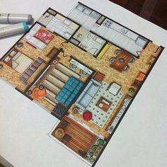 Innenarchitektur Skizzen Hauptschlafzimmer - Hints for Women Interior Architecture Drawing, Interior Design Renderings, Drawing Interior, Interior Rendering, Interior Sketch, Architecture Design, Floor Plan Rendering, Rendering Drawing, Floor Plan Drawing