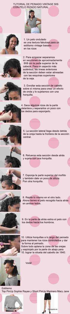 Peinado retro con rizo natural