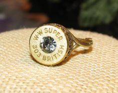 Winchester 303 British bullet casing ring with swarovski crystal