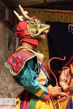 Traditional masked dances of Bhutan. Also known as the cham dances - Pictured here is the Dramtse Nga Cham