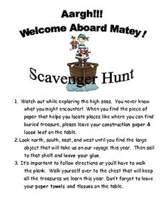 Pirate Scavenger Hunt For Gifts For Speak Like A Pirate Day