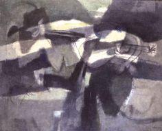 """""""La Caccia Subacquea"""", Tecnica Mista, Tela, cm 143,5X176,6, Collezione Privata, 1955 - """"Afro. Dal progetto all'opera. 1951-1975"""" [Afro. From the sketch to artwork. 1951-1975], exhibition @ Museo Carlo Bilotti"""