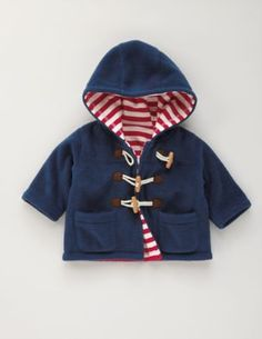 Boden USA Fleece Duffle in navy with red stripe