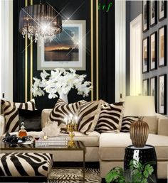 Zebras pillows and zebra print on pinterest for Living room decorating ideas zebra print