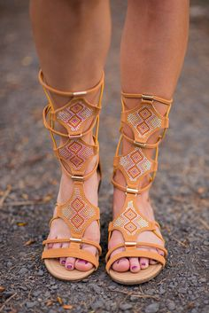 Bling Bling Strappy Tan Gladiator Sandals - NanaMacs.com - 2