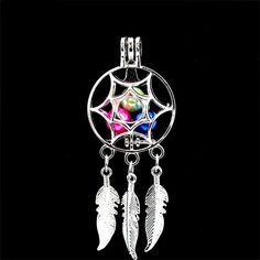 K727 Silver Heart Love Pearl Cage Dangle Leaf Charms Pendant Necklace