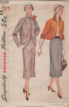 Vintage Simplicity 8378 Skirt and Jacket Sewing Pattern. $9.99, via Etsy.
