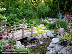 Landscaping, flowers with a bridge over water. how cute would this be in my back yard?