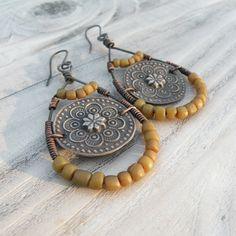 Nomadic Mandala Earrings Rustic Bohemian Dangles by GypsyIntent, $49.00