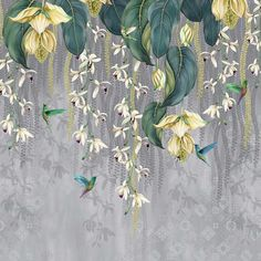 Papel pintado floral Trailing Orchid Osborne & Little Orchid Wallpaper, Wallpaper Decor, Wallpaper Designs, Bathroom Wallpaper, Yellow Orchid, Pink Orchids, Yellow Flowers, Osborne And Little Wallpaper, Teal And Pink