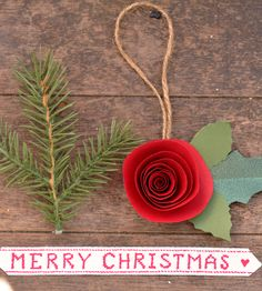 Red Paper Flower Christmas Ornament with Holly Leaves - Set of 3 | Collections Happy Holidays | Lille Syster | Scoutmob Shoppe | Product Detail