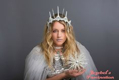 Items similar to Ice Witch Frozen Snow Ethereal Crown White Circlet Winter Headdress Frozen Costume Party Headpiece Icicle Tiara Renaissance Snow Queen on Etsy Snow White Queen, Snow Queen, Headdress, Headpiece, Emma Frost Costume, Renaissance Fairy, Tacky Christmas Sweater, Blue Christmas, Frozen Snow