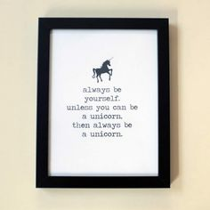 Alice in Wonderland Quotes Framed – Unicorn Quote Framed