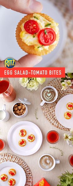 Spring has sprung and that means brunch! Kick off your spring brunch get-together with this simple appetizer: Egg Salad-Tomato Bites! Prep egg salad and grab some grape tomatoes - let's get snacking! Top crackers with egg salad, grape tomato slices, and chopped fresh chives. You've got the stuff to make life rich.
