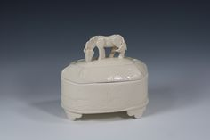 Lozenge jar with horse knob by Amy Henson
