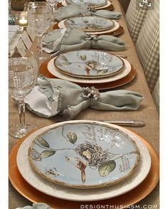 Spring table settings - Spring Plates A Nature Inspired Rustic Table Setting – Spring table settings Table Place Settings, Beautiful Table Settings, Setting Table, Elegant Table, Rustic Table, Table Arrangements, Centrepieces, China Patterns, Deco Table