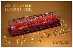 L'éclair géant - bûche de Noël de l'Atelier de l'Eclair. Brownie chocolat et noisette, surmonté d'un éclair géant et coiffé d'une dentelle chocolatée. Une édition limitée à 68 € pour 6/8 pers
