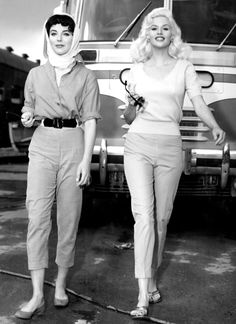"""Joan Collins and Jayne Mansfield on the set of """"The Wayward Bus"""", 1957."""