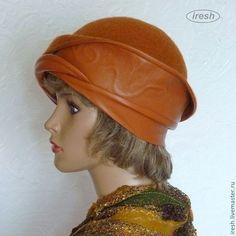 """Купить Шляпа """"Терракотовая"""" валяная, кожаная. - рыжий, терракотовый, шляпка коричневая купить, одежда из войлока"""