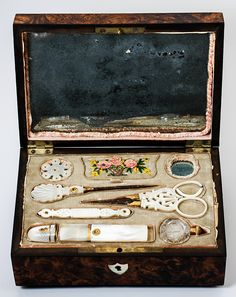 Antique Palais Royal Sewing Box, Casket,  Mother of Pearl Tools, Scissors, Needle Case, Thimble, Stiletto, Silk Winders, 18k Gold, late 1700's - early 1800's