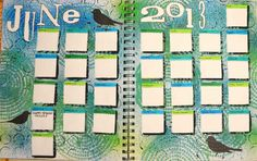 June Art Journalling Calendar - uses cut pieces of post it notes for masks along with Crafter's Workshop stencils