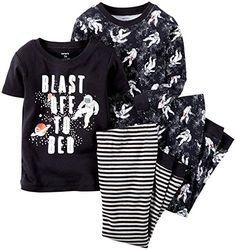 Carter's Little Boys' 4 Piece Slogan Tee PJ Set (Toddler/Kid) - Blast Off - 2T Carter's